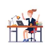 Επίτευγμα εργασίας εορτασμού επιχειρησιακών γυναικών απεικόνιση αποθεμάτων