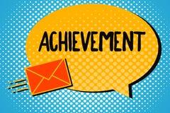 Επίτευγμα κειμένων γραφής Έννοια που σημαίνει το πράγμα που γίνεται επιτυχώς με την ικανότητα προσπάθειας ή τη νίκη θάρρους απεικόνιση αποθεμάτων