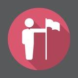 Επίτευγμα, πρόσωπο με το επίπεδο εικονίδιο σημαιών Στρογγυλό ζωηρόχρωμο κουμπί, κυκλικό διανυσματικό σημάδι με τη μακροχρόνια επί απεικόνιση αποθεμάτων