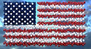 Επίδειξη μπαλονιών αμερικανικών σημαιών ημέρας της ανεξαρτησίας Στοκ Φωτογραφία