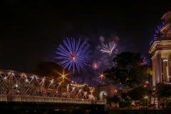 Επίδειξη πυροτεχνημάτων στη Σιγκαπούρη Στοκ Φωτογραφίες