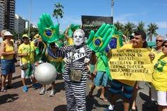 Επίδειξη στην κατηγορία υποστήριξης Dilma Rousseff σε Copacabana Στοκ Φωτογραφία