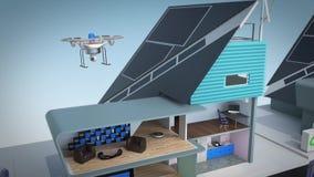 Επίδειξη της έξυπνης έννοιας σπιτιών Τροφοδοτημένος από ηλιακό και τη αιολική ενέργεια διανυσματική απεικόνιση