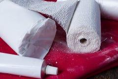 Επίδεσμοι ασβεστοκονιάματος για τη ρίψη κοιλιών Στοκ φωτογραφία με δικαίωμα ελεύθερης χρήσης