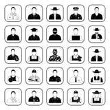 Επαγγέλματα 25 εικονίδια που τίθενται για τον Ιστό και κινητά Στοκ Εικόνα