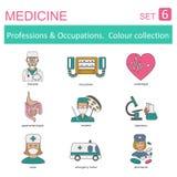Επαγγέλματα και χρωματισμένο επαγγέλματα σύνολο εικονιδίων ιατρικός Επίπεδο lin Στοκ Φωτογραφίες