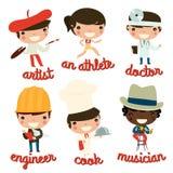 Επαγγέλματα παιδιών καλλιτέχνης, αθλητής, γιατρός, μηχανικός, μάγειρας, μουσικός Στοκ φωτογραφία με δικαίωμα ελεύθερης χρήσης
