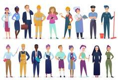 Επαγγελματίες εργαζομένων καθορισμένοι στεμένος από κοινού Διαφορετική απασχόληση επαγγέλματος και διανυσματική απεικόνιση ομαδικ διανυσματική απεικόνιση