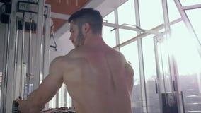 Επαγγελματικά αθλήματα που εκπαιδεύουν, ισχυρός αρσενικός κάνοντας μυς bodybuilder που στηρίζεται workout στον προσομοιωτή έλξης  απόθεμα βίντεο