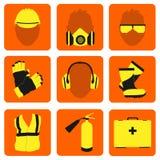 Επαγγελματικά εικονίδια και σημάδια Ασφαλείας και Υγεία καθορισμένα απεικόνιση αποθεμάτων