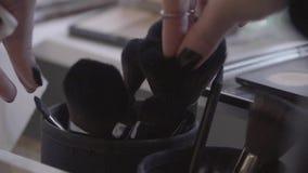Επαγγελματικές βούρτσες makeup απόθεμα βίντεο