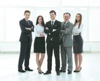 Επαγγελματική επιχειρησιακή ομάδα Φωτογραφία στην πλήρη αύξηση Φωτογραφία με τη θέση για το κείμενο στοκ φωτογραφία