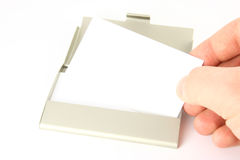επαγγελματική κάρτα που λαμβάνεται Στοκ Φωτογραφία