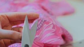 Επαγγελματική μοδίστρα, ράφτης που κόβει ένα κομμάτι του υφάσματος στο εργαστήριό της απόθεμα βίντεο
