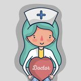 Επαγγελματική νοσοκόμα με την καρδιά για να βοηθήσει τους ανθρώπους ελεύθερη απεικόνιση δικαιώματος