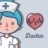 Επαγγελματική νοσοκόμα με τον κτύπο της καρδιάς για να βοηθήσει τους ανθρώπους απεικόνιση αποθεμάτων