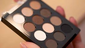 Επαγγελματική σκιά σύνθεσης Σκιές Makeup στα θηλυκά χέρια απόθεμα βίντεο