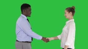 Επαγγελματική χειραψία επιχειρηματιών σε μια πράσινη οθόνη, κλειδί χρώματος φιλμ μικρού μήκους