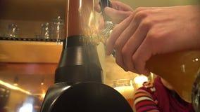 Επαγγελματική χύνοντας μπύρα μπάρμαν στο γυαλί στο μπαρ, εξυπηρετώντας ποτό στους πελάτες φιλμ μικρού μήκους