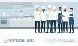 Επαγγελματικοί αρχιμάγειρες στην κουζίνα ελεύθερη απεικόνιση δικαιώματος