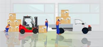 Επαγγελματικοί εργαζόμενοι στην αποθήκη εμπορευμάτων απεικόνιση αποθεμάτων