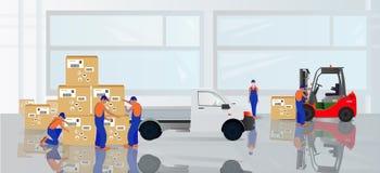 Επαγγελματικοί εργαζόμενοι στην αποθήκη εμπορευμάτων ελεύθερη απεικόνιση δικαιώματος