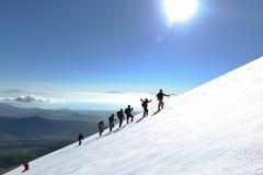 Επαγγελματικοί ορειβάτες στη χιονώδη κλίση στοκ εικόνες με δικαίωμα ελεύθερης χρήσης