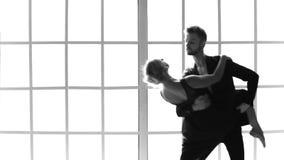 Επαγγελματικοί χορευτές μπαλέτου που χορεύουν στο στούντιο απόθεμα βίντεο