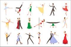 Επαγγελματικοί χορευτές που εκτελούν τις διαφορετικές μορφές του χορού Άνθρωποι στα ζωηρόχρωμα κοστούμια Νεαροί άνδρες και γυναίκ διανυσματική απεικόνιση