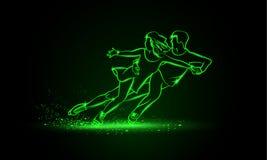 Επαγγελματικός αθλητισμός πατινάζ αριθμού ζευγαριού Πράσινος γραμμικός αριθμός ζευγαριού νέου που κάνει πατινάζ σε ένα μαύρο υπόβ απεικόνιση αποθεμάτων