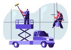 Επαγγελματικός βιομηχανικός εξοπλισμός Deep Cleaning Company ομάδας, υπηρεσία οχημάτων Άτομα στην ομοιόμορφη εργασία παραθύρων κα ελεύθερη απεικόνιση δικαιώματος