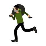 Επαγγελματικός καλυμμένος χαρακτήρας ληστών που τρέχει με μια απεικόνιση τσαντών πυροβόλων όπλων και χρημάτων διανυσματική απεικόνιση