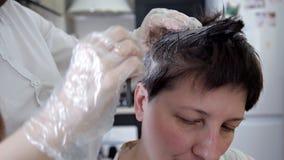 Επαγγελματικός κομμωτής, τρίχα στιλίστων που χρωματίζει το θηλυκό πελάτη Η έννοια της ομορφιάς και της μόδας απόθεμα βίντεο