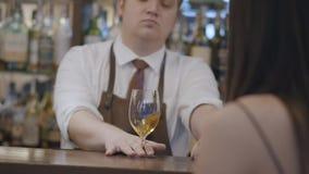 Επαγγελματικός νέος γενειοφόρος άνδρας και unrecognizable συνεδρίαση γυναικών brunette στο μετρητή φραγμών Παχουλή bartender μίξη απόθεμα βίντεο