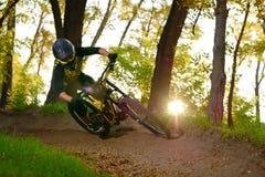 Επαγγελματικός ποδηλάτης που οδηγά το ποδήλατο βουνών στο δασικό ίχνος φθινοπώρου Ακραίος αθλητισμός και έννοια ανακύκλωσης Endur στοκ εικόνα με δικαίωμα ελεύθερης χρήσης