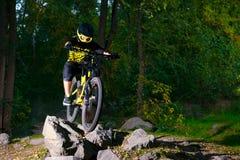 Επαγγελματικός ποδηλάτης που οδηγά το ποδήλατο βουνών στο δασικό ίχνος φθινοπώρου Ακραίος αθλητισμός και έννοια ανακύκλωσης Endur στοκ φωτογραφίες