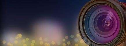 Επαγγελματικός φακός καμερών με την επίδραση υποβάθρου θαμπάδων στοκ εικόνα με δικαίωμα ελεύθερης χρήσης