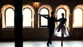 Επαγγελματικό μπαλέτο χορού χορευτών μπαλέτου στο στούντιο απόθεμα βίντεο