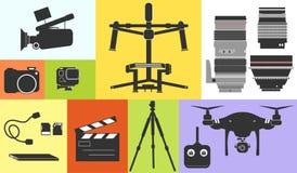Επαγγελματίας φωτογραφιών μήκους σε πόδηα κινηματογράφων εικονιδίων σκιαγραφιών Στοκ φωτογραφία με δικαίωμα ελεύθερης χρήσης