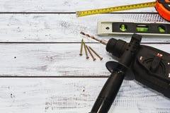 Επαγγελματικά εργαλεία εργασίας conctruction ή επισκευής Στοκ εικόνα με δικαίωμα ελεύθερης χρήσης