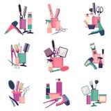Επαγγελματικά εργαλεία κομμωτών Αντικείμενα μόδας κουρέων καθορισμένα Σαλόνι σχεδίου εικονιδίων κουρέματος Hairstyle Διανυσματικό Στοκ εικόνες με δικαίωμα ελεύθερης χρήσης