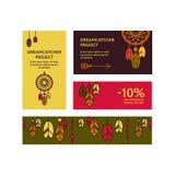Επαγγελματικές κάρτες με τα dreamcatchers Στοκ Φωτογραφία