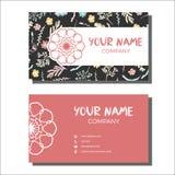 Επαγγελματικές κάρτες με το floral σχέδιο επίσης corel σύρετε το διάνυσμα απεικόνισης Στοκ Εικόνες