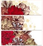 Επαγγελματικές κάρτες μόδας που τίθενται με τα λουλούδια Στοκ Εικόνα