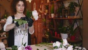 Επαγγελματική έναρξη ανθοκόμων που κάνει την ανθοδέσμη ρόδινου και άσπρου Peonies απόθεμα βίντεο