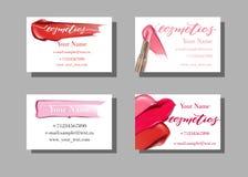 Επαγγελματική κάρτα καλλιτεχνών Makeup Διανυσματικό πρότυπο με το σχέδιο στοιχείων makeup - κραγιόν κηλίδων στοκ εικόνες με δικαίωμα ελεύθερης χρήσης