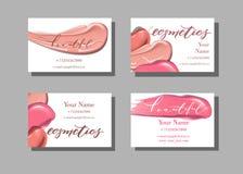 Επαγγελματική κάρτα καλλιτεχνών Makeup Διανυσματικό πρότυπο με το σχέδιο στοιχείων makeup - κραγιόν Διάνυσμα προτύπων απεικόνιση αποθεμάτων