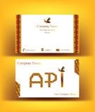 Επαγγελματική κάρτα με τις επιστολές API ως αφηρημένες κηρήθρες Στοκ Φωτογραφία