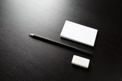 Επαγγελματική κάρτα, μολύβι, γόμα στοκ εικόνα με δικαίωμα ελεύθερης χρήσης