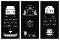 Επαγγελματική κάρτα προτύπων με τα σπίτια Στοκ Φωτογραφία